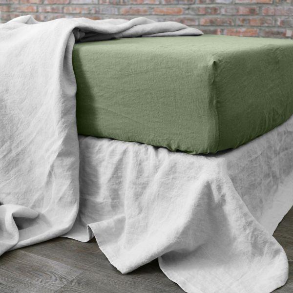 achat drap housse 160x200 cm lin oil green pas cher. Black Bedroom Furniture Sets. Home Design Ideas