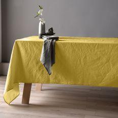 Nappe 160x160 Lin métis - Jaune moutarde