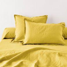 Taie d'oreiller 50x70 avec volant Lin métis - Jaune moutarde