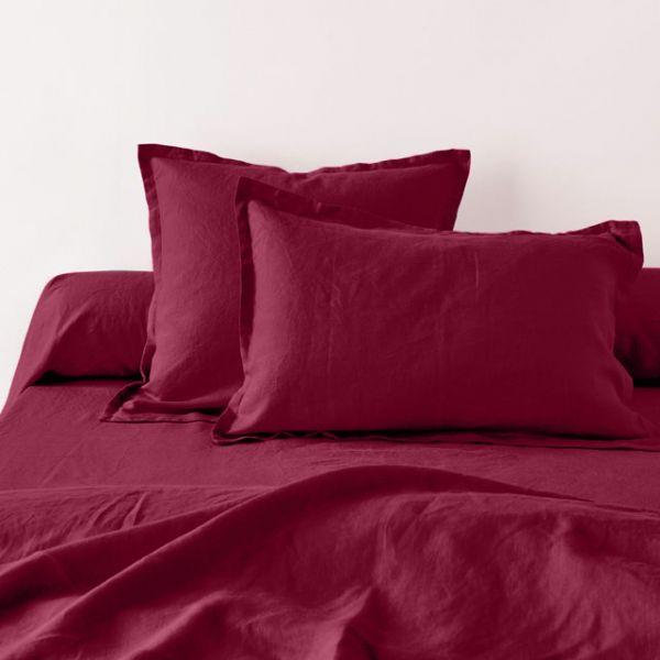 achat taie d 39 oreiller 65x65 avec volant lin m tis groseille pas cher. Black Bedroom Furniture Sets. Home Design Ideas