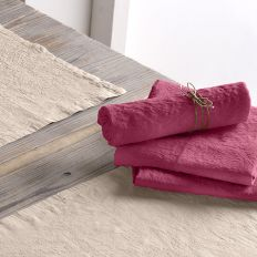 Lot de 2 serviette 45x45 Lin métis - Groseille