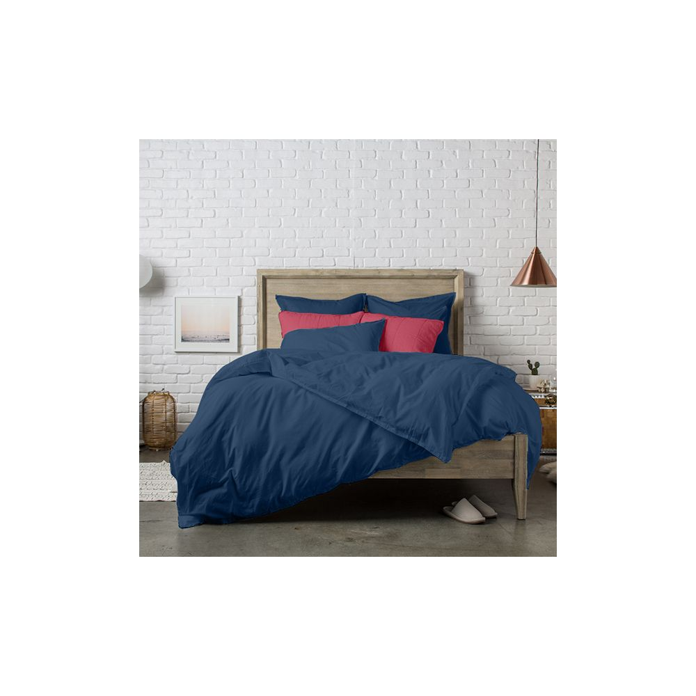 achat housse de couette 240x220 cm percale ensign blue pas. Black Bedroom Furniture Sets. Home Design Ideas