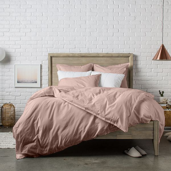 achat housse de couette 240x220 cm percale rose lavis pas cher. Black Bedroom Furniture Sets. Home Design Ideas