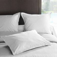 Taie d'oreiller 50x70 avec volant Percale Blanc