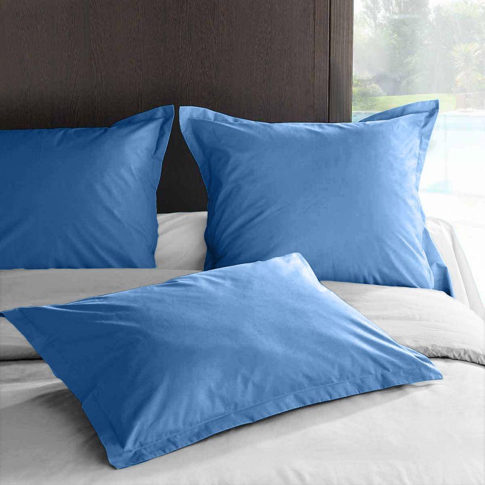 achat taie d 39 oreiller 50x70 avec volant percale lake pas cher. Black Bedroom Furniture Sets. Home Design Ideas