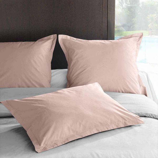achat taie d 39 oreiller 50x70 avec volant percale rose lavis. Black Bedroom Furniture Sets. Home Design Ideas