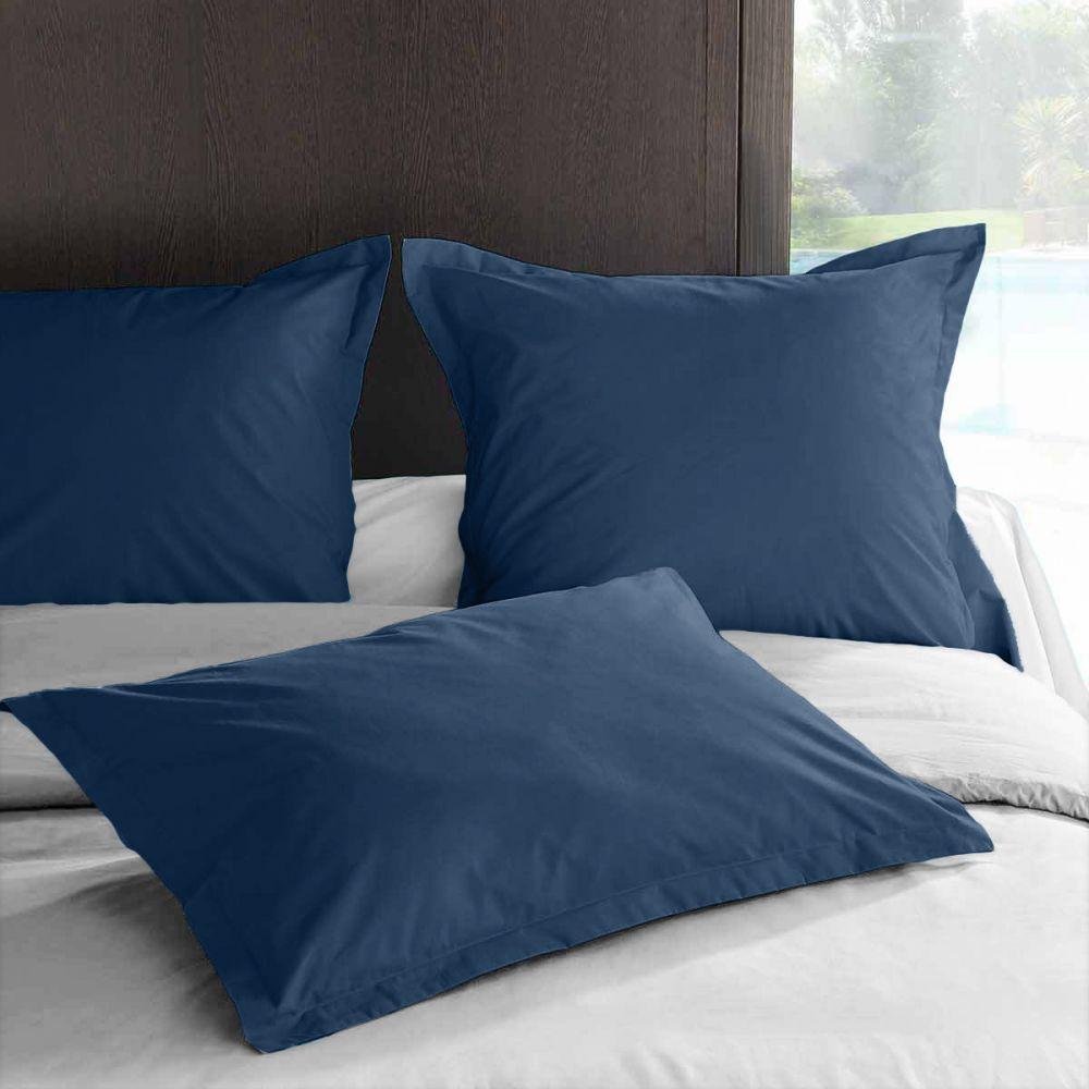 achat taie d 39 oreiller 65x65 avec volant percale ensign blue pas cher. Black Bedroom Furniture Sets. Home Design Ideas