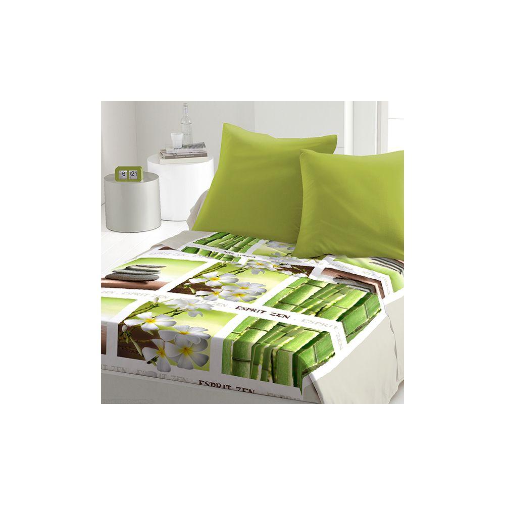 achat parure de drap microfibre 240x300 cm 4pcs floral zen pas cher. Black Bedroom Furniture Sets. Home Design Ideas