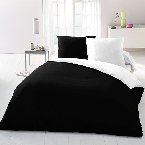 achat parure de couette microfibre 220x240 cm noir blanc pas cher. Black Bedroom Furniture Sets. Home Design Ideas