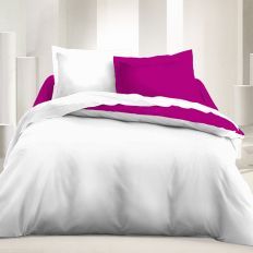 Parure de lit réversible 220x240 cm microfibre Blanc Groseille