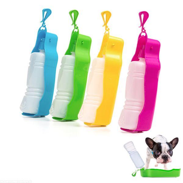 Bouteille d'eau portable pour chiens et chats avec gamelle