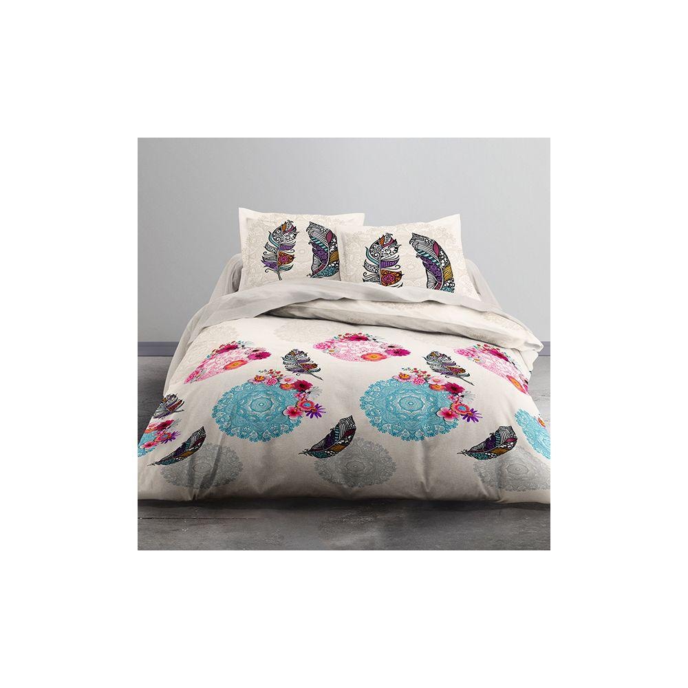 achat parure de lit yoni 100 coton 51 fils 3 pi ces pas cher. Black Bedroom Furniture Sets. Home Design Ideas