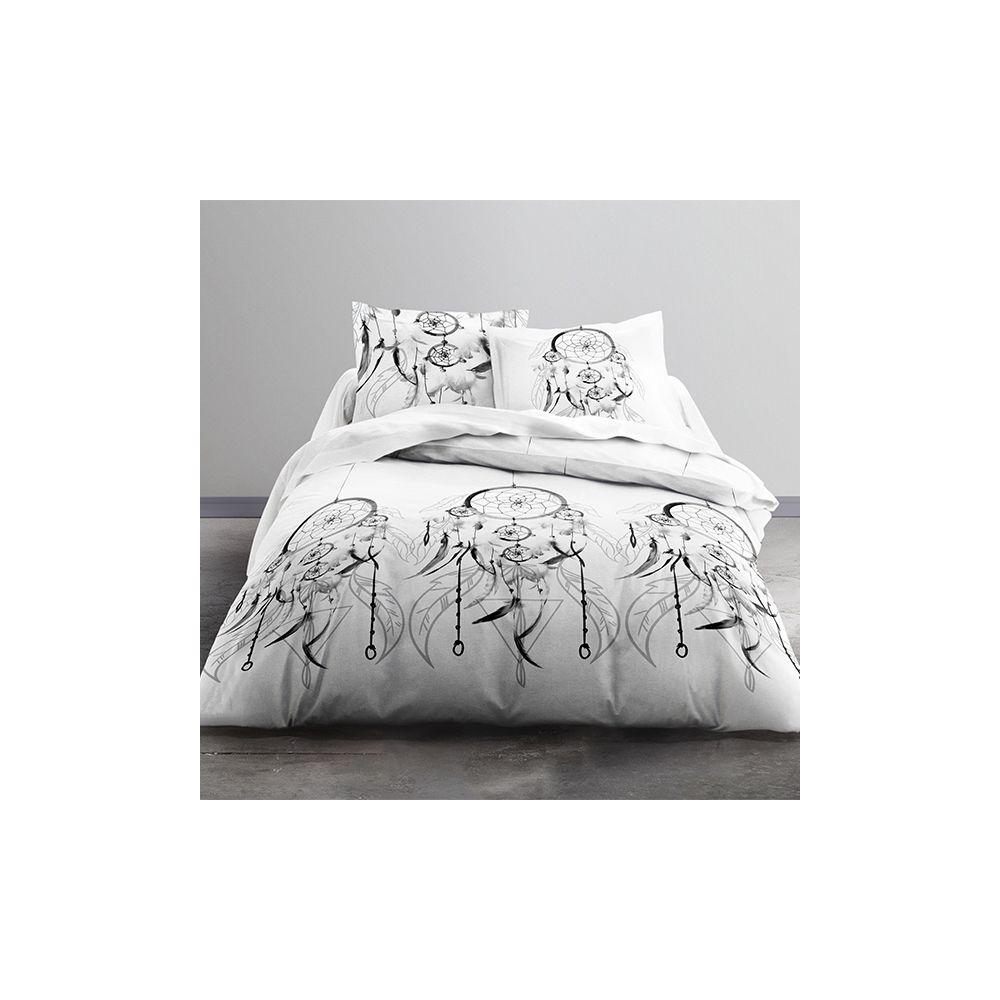 achat parure de couette sioux 100 coton 51 fils 3 pi ces pas cher. Black Bedroom Furniture Sets. Home Design Ideas