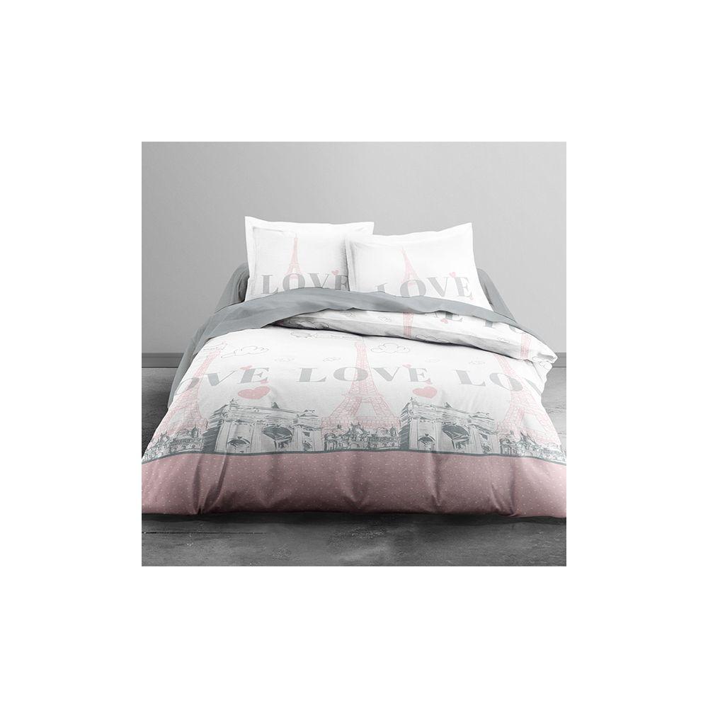 achat parure de lit 100 coton paris my love 3 pi ces pas cher. Black Bedroom Furniture Sets. Home Design Ideas