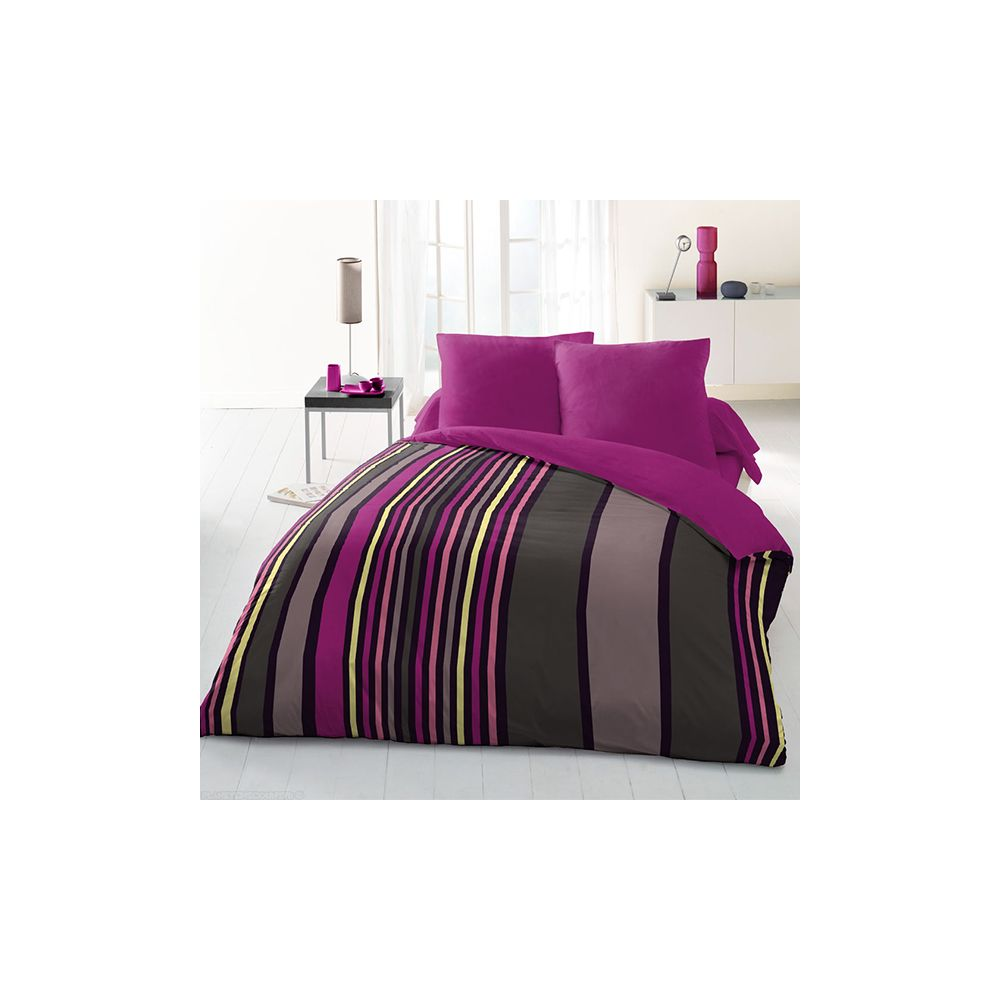 achat parure de couette microfibre 220x240 cm sonia rose pas cher. Black Bedroom Furniture Sets. Home Design Ideas