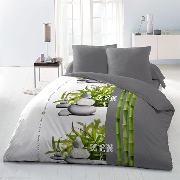 achat parure de couette microfibre 220x240 cm zen bambou pas cher. Black Bedroom Furniture Sets. Home Design Ideas