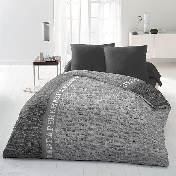 achat parure de couette microfibre 220x240 cm newspaper pas cher. Black Bedroom Furniture Sets. Home Design Ideas