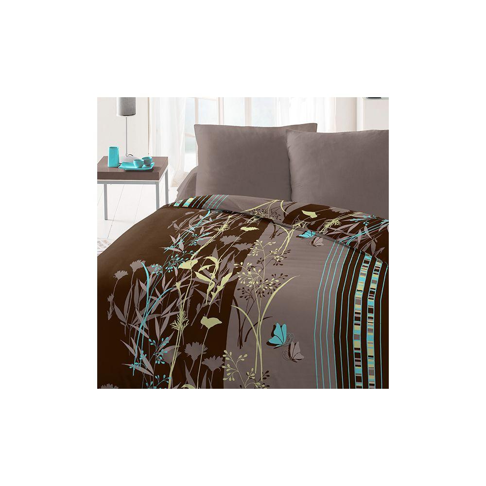 achat parure de couette microfibre 220x240 cm flore pas cher. Black Bedroom Furniture Sets. Home Design Ideas
