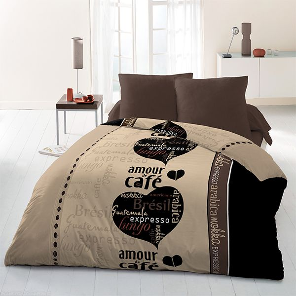 achat parure de couette microfibre 220x240 cm caf du monde pas cher. Black Bedroom Furniture Sets. Home Design Ideas