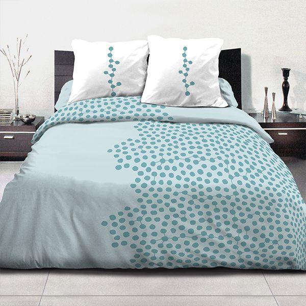achat parure de couette coton 220x240 cm ayna turquoise pas cher. Black Bedroom Furniture Sets. Home Design Ideas