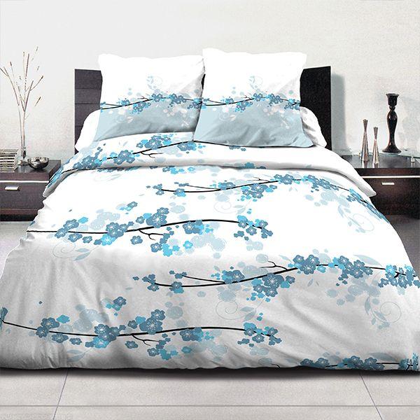 Parure de couette coton 220x240 cm Miss Fleurs Bleu