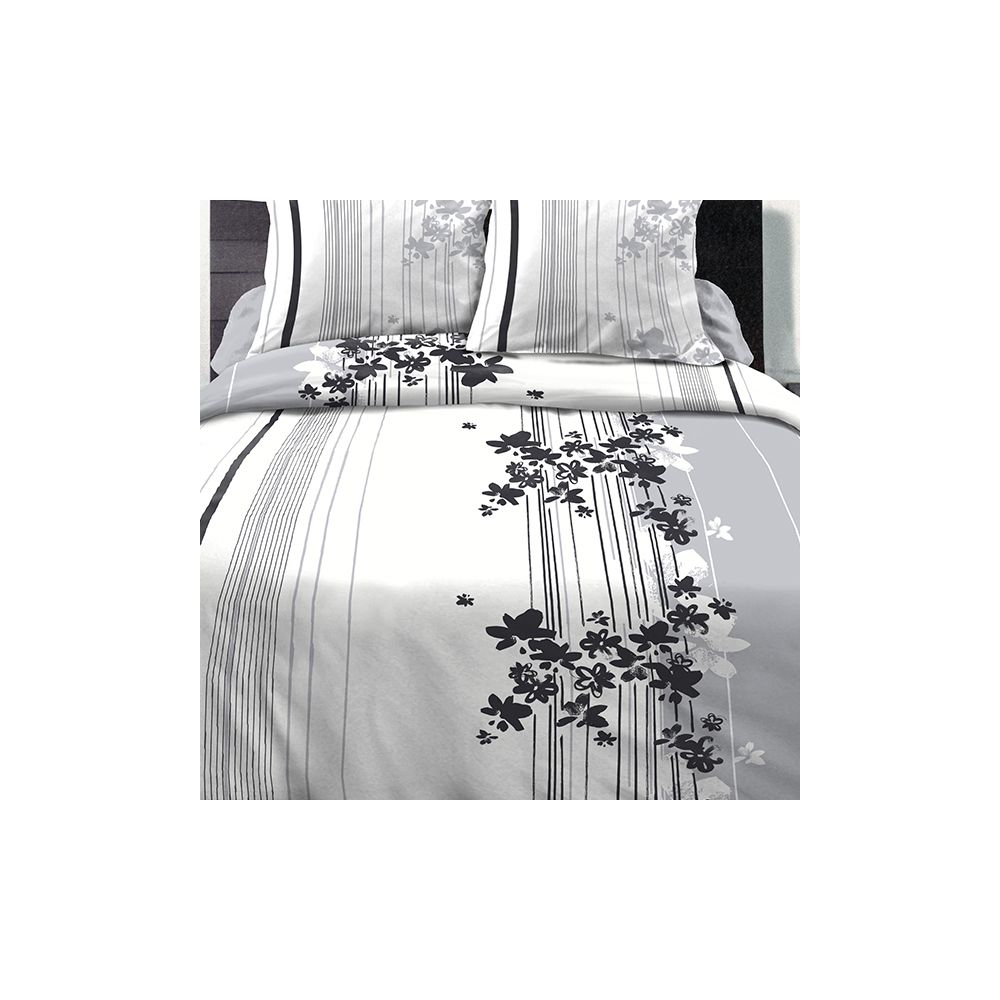 Achat parure de couette coton 220x240 cm cascade fleurie pas cher - Parure de lit fleurie ...