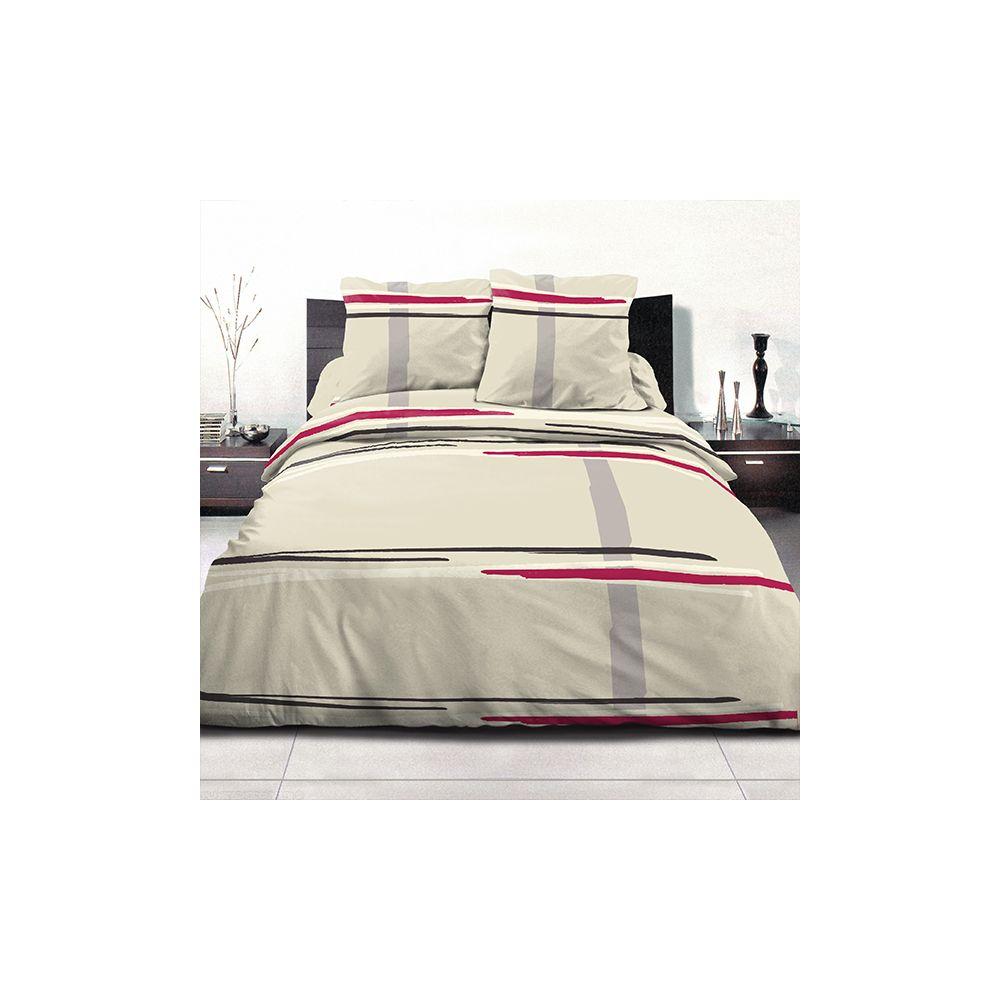Achat parure de couette coton 220x240 cm middle framboise for Parure de couette 220x240 pas cher