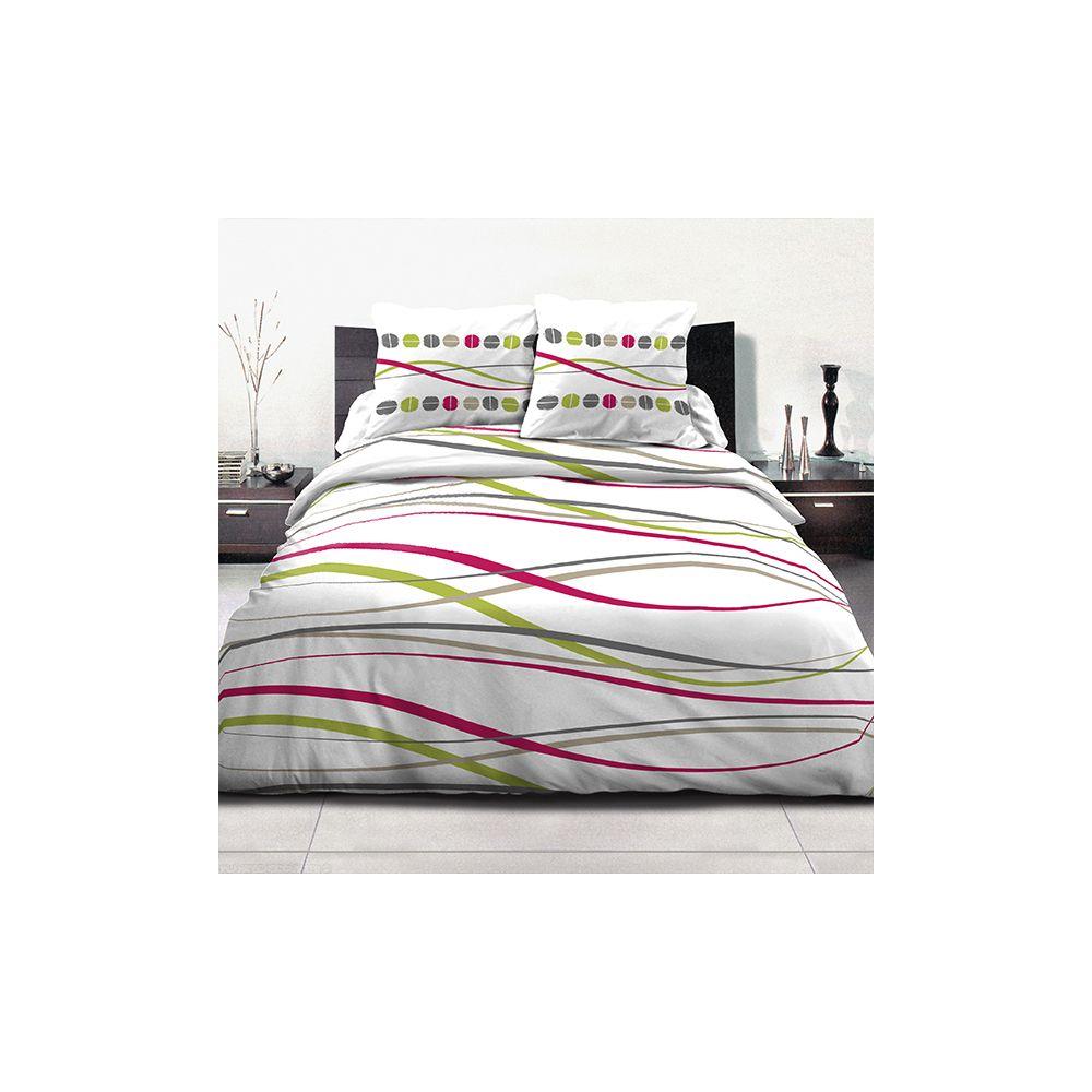 achat parure de couette coton 220x240 cm vague t pas cher. Black Bedroom Furniture Sets. Home Design Ideas