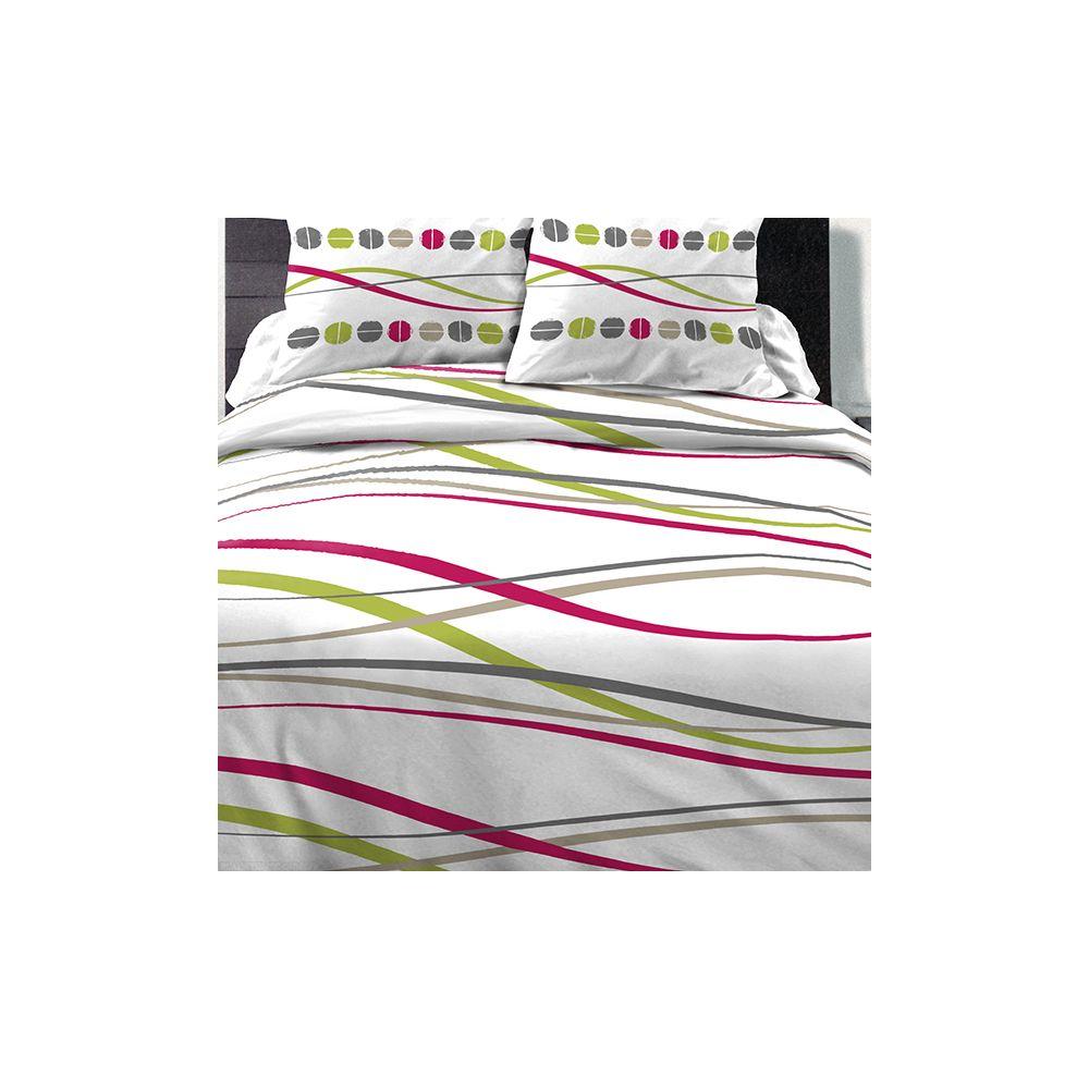 Achat parure de couette coton 220x240 cm vague t pas cher - Parure de lit discount ...