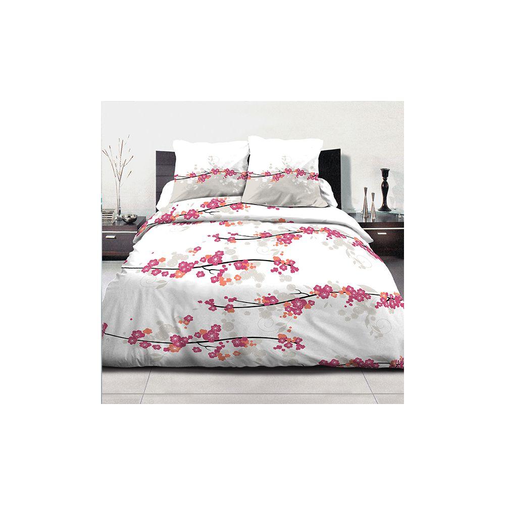 achat parure de couette coton 240x260 cm miss fleurs pas cher. Black Bedroom Furniture Sets. Home Design Ideas