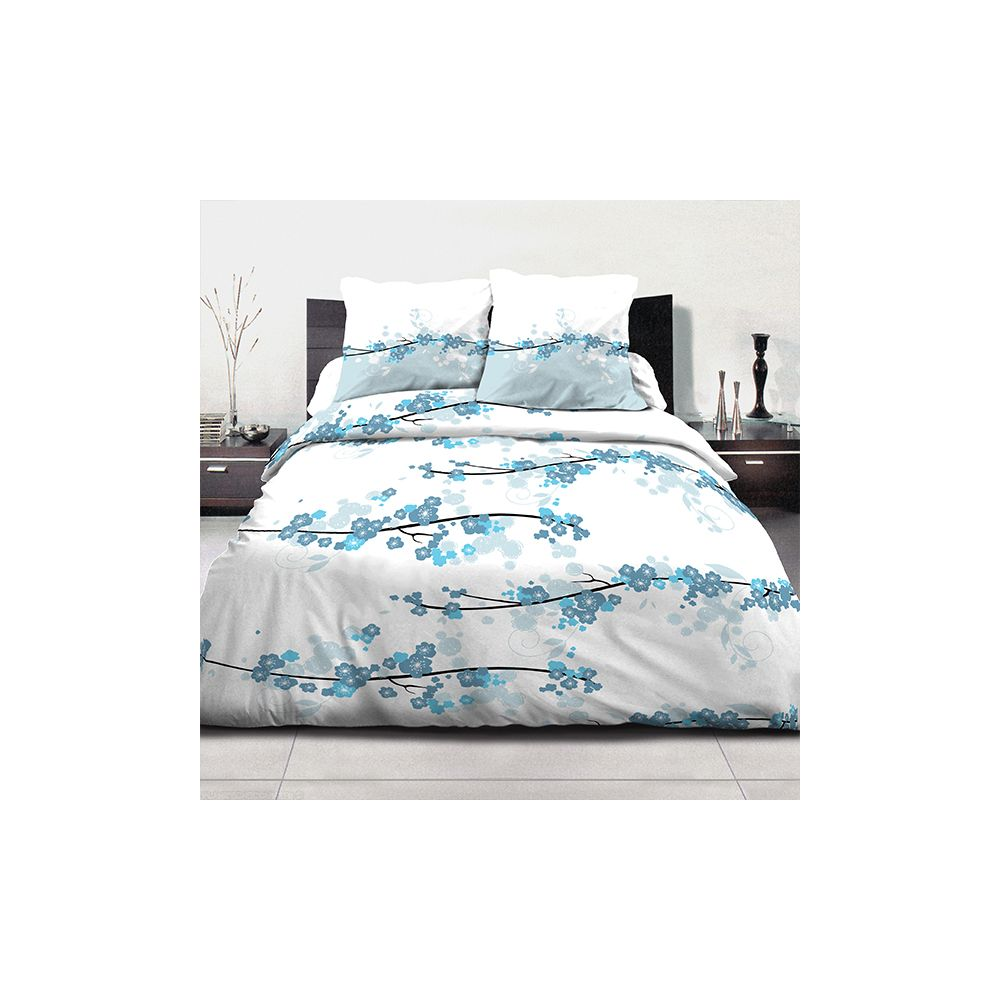 achat parure de couette coton 240x260 cm miss fleurs bleu. Black Bedroom Furniture Sets. Home Design Ideas