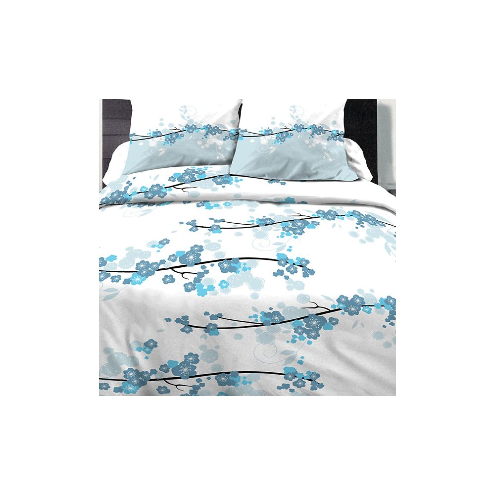 Achat parure de couette coton 240x260 cm miss fleurs bleu for Parure de lit 240x260 coton