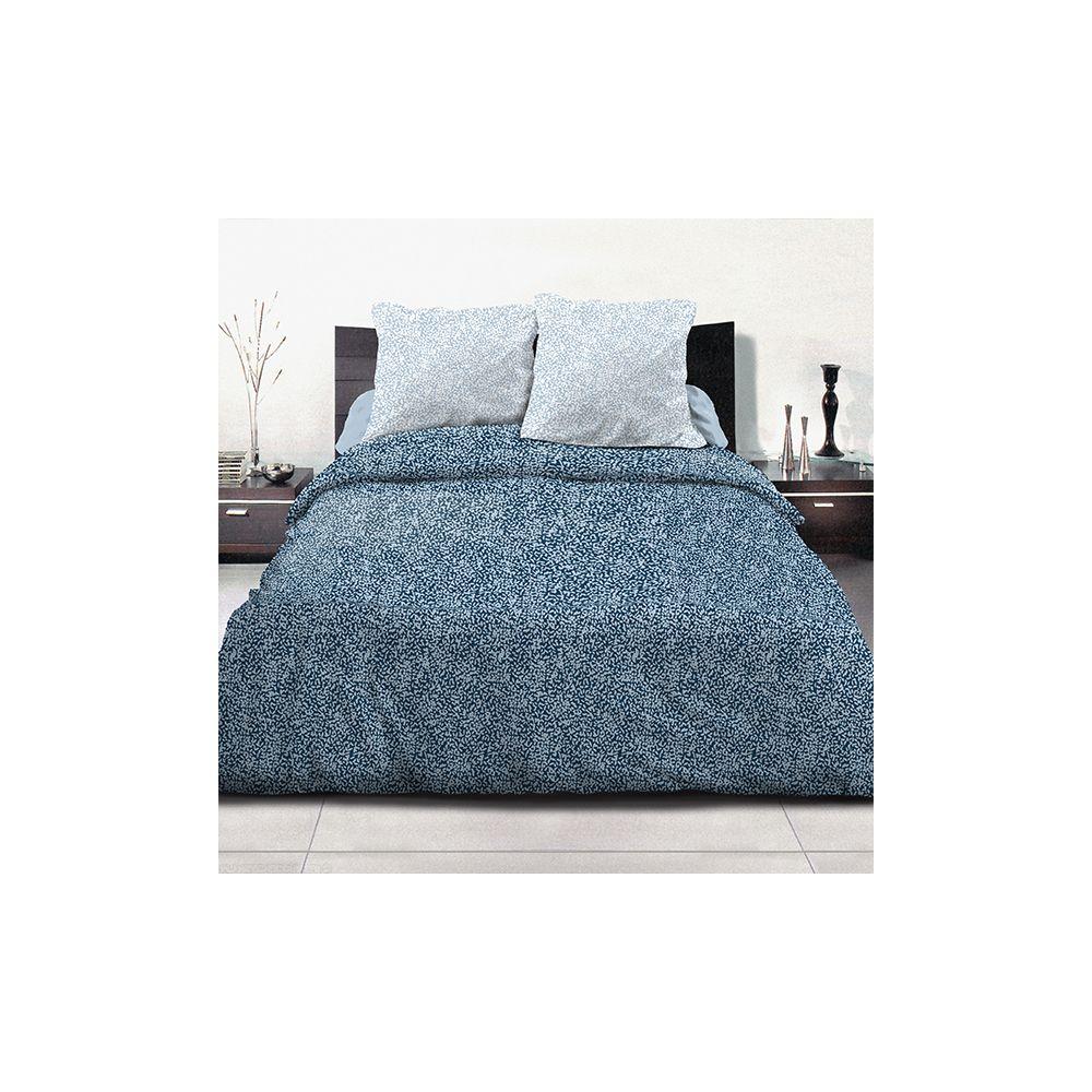 Achat parure de couette coton 240x260 cm indara bleu pas cher for Parure de lit 240x260 coton