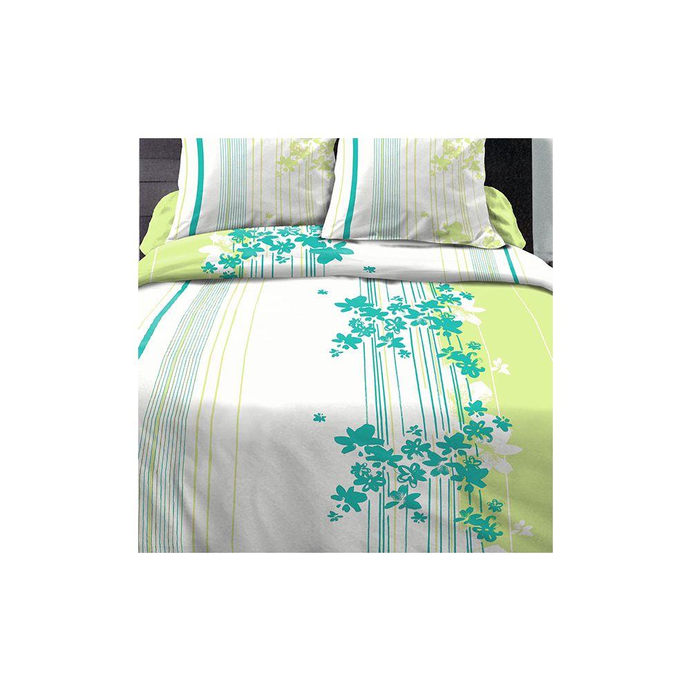 achat parure de couette coton 240x260 cm cascade fleurie t pas cher. Black Bedroom Furniture Sets. Home Design Ideas