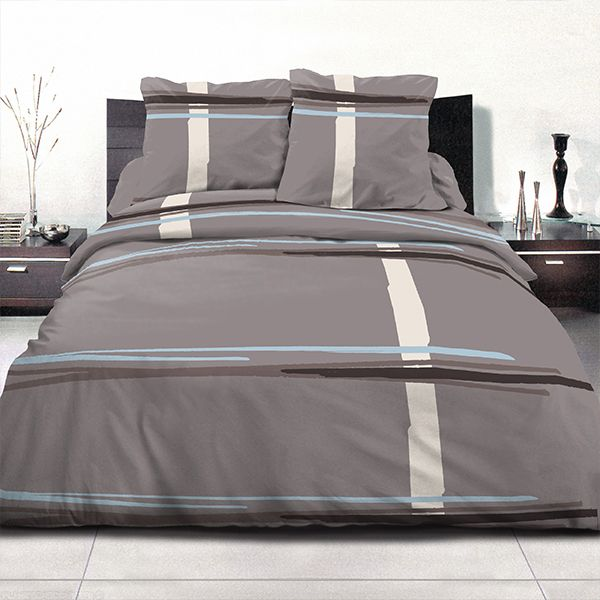 achat parure de couette coton 240x260 cm middle gris bleu pas cher. Black Bedroom Furniture Sets. Home Design Ideas
