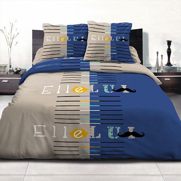 Achat parure de couette coton 240x260 cm moustache bleue for Parure de lit 240x260 coton
