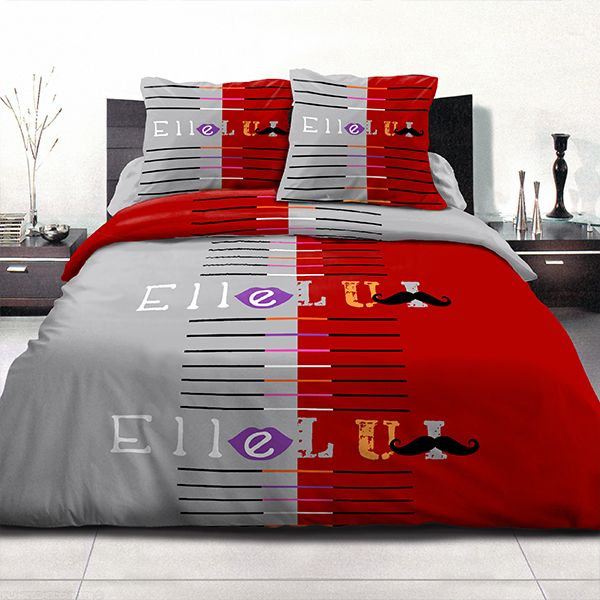 achat parure de couette coton 240x260 cm moustache rouge pas cher. Black Bedroom Furniture Sets. Home Design Ideas
