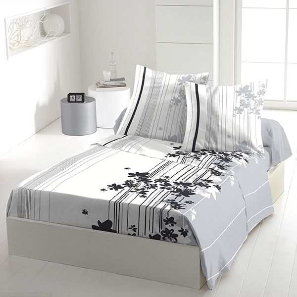 achat parure de drap coton 240x300 cm cascade fleurie pas cher. Black Bedroom Furniture Sets. Home Design Ideas