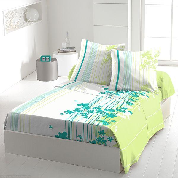 Achat parure de drap coton 240x300 cm cascade fleurie t pas cher - Parure de lit fleurie ...