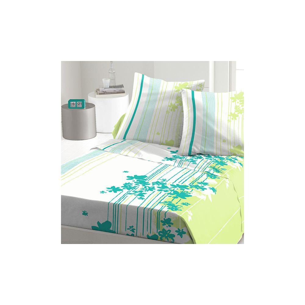 achat parure de drap coton 240x300 cm cascade fleurie t pas cher. Black Bedroom Furniture Sets. Home Design Ideas