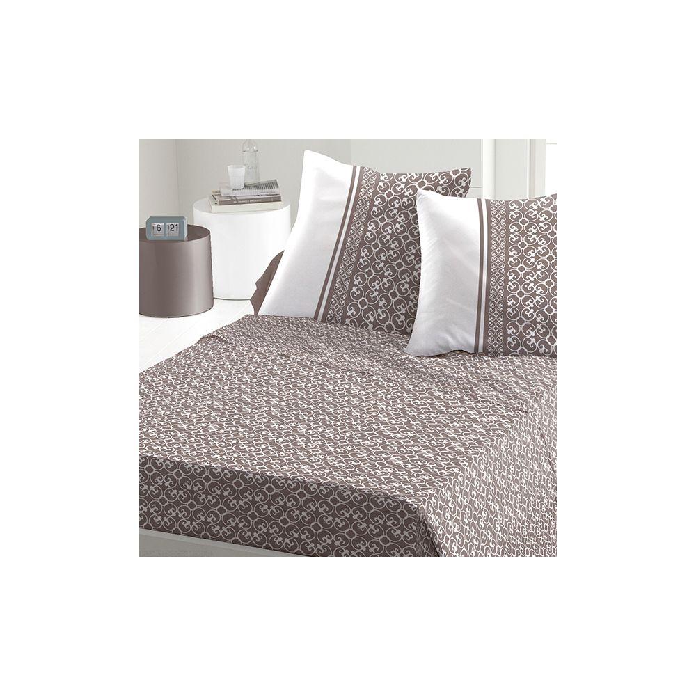 achat parure de drap 5 pi ces coton 240x300 cm anna taupe pas cher. Black Bedroom Furniture Sets. Home Design Ideas