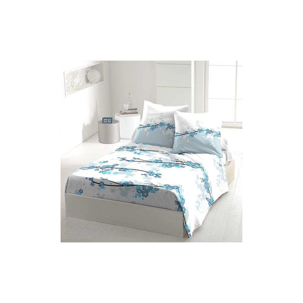 achat parure de drap 5 pi ces coton 240x300 cm miss fleurs bleu pas cher. Black Bedroom Furniture Sets. Home Design Ideas