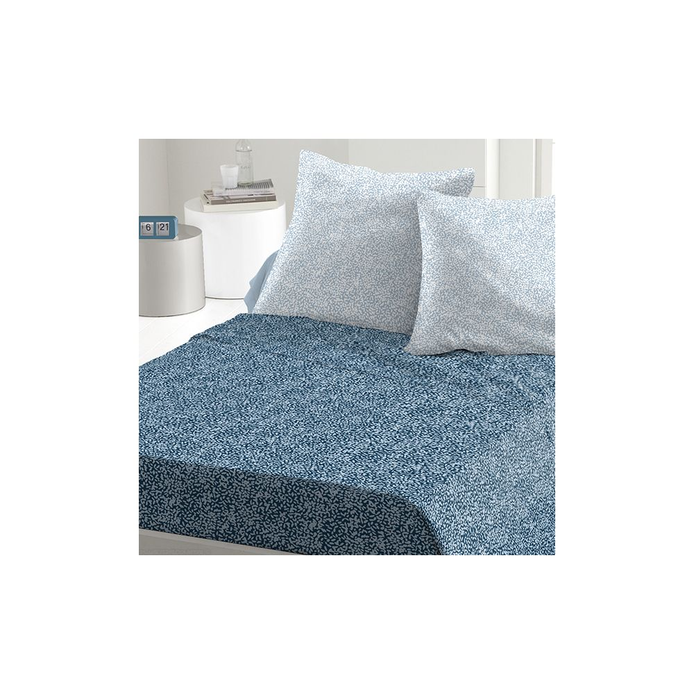 achat parure de drap 5 pi ces coton 240x300 cm indara bleu pas cher. Black Bedroom Furniture Sets. Home Design Ideas