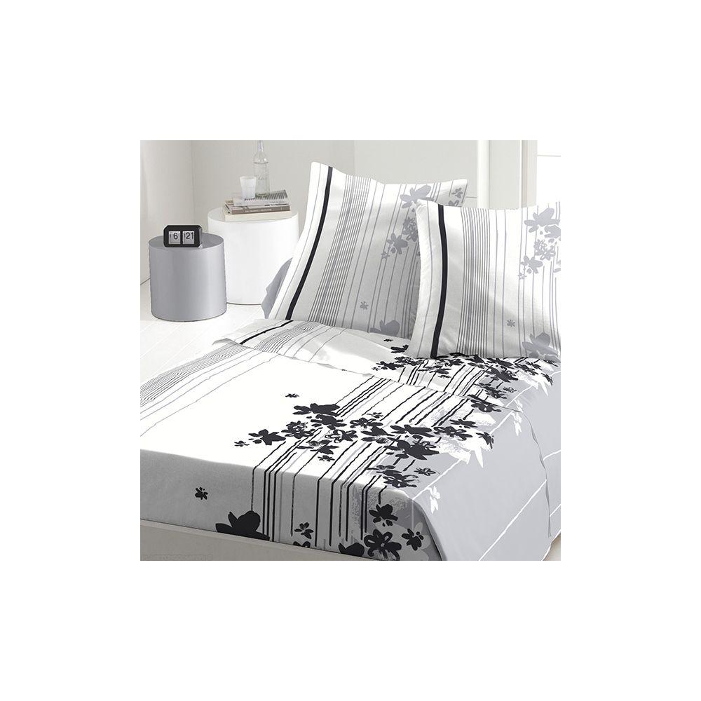 achat parure de drap 5 pi ces coton 240x300 cm cascade fleurie pas cher. Black Bedroom Furniture Sets. Home Design Ideas