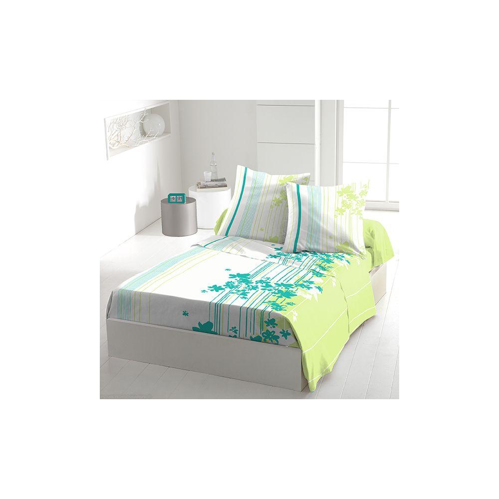 achat parure de drap 5 pi ces coton 240x300 cm cascade fleurie t pas cher. Black Bedroom Furniture Sets. Home Design Ideas