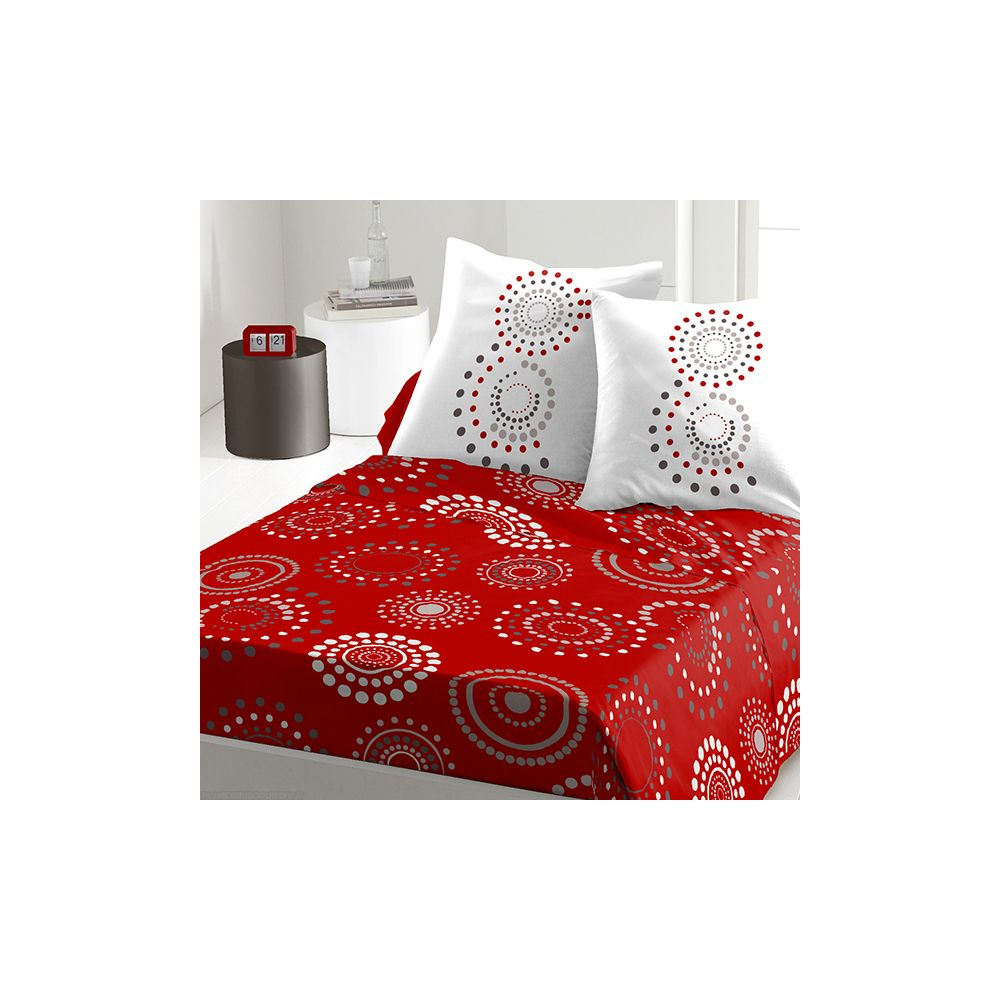 achat parure de drap 5 pi ces coton 240x300 cm feu d 39 artifice red pas cher. Black Bedroom Furniture Sets. Home Design Ideas