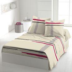 Parure de drap 5 pièces coton 240x300 cm Middle Framboise