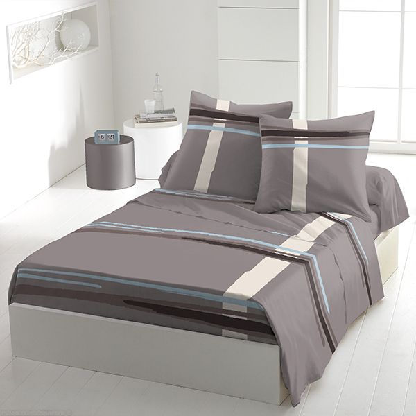 achat parure de drap 5 pi ces coton 240x300 cm middle gris bleu pas cher. Black Bedroom Furniture Sets. Home Design Ideas