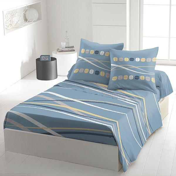 achat parure de drap 5 pi ces coton 240x300 cm vague denim pas cher. Black Bedroom Furniture Sets. Home Design Ideas