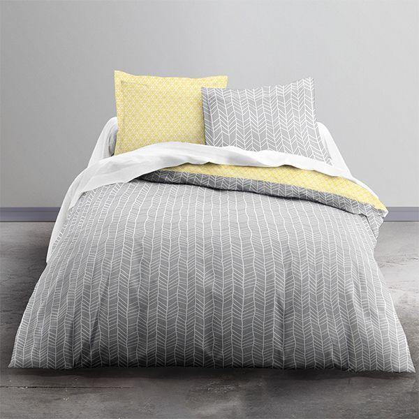 achat parure de couette microfibre 220x240 cm yellow pas cher. Black Bedroom Furniture Sets. Home Design Ideas